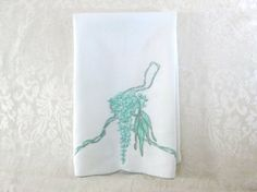 Marghab Madeira Hand Towel Green Wisteria Antique by VintageLinens