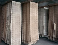 Racks of Jacquard punched cards. These are the patterns for a textile mill.