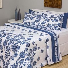 Enxoval Cama Casal Malibu 7 Peças Azul e Branco - Casa & Conforto