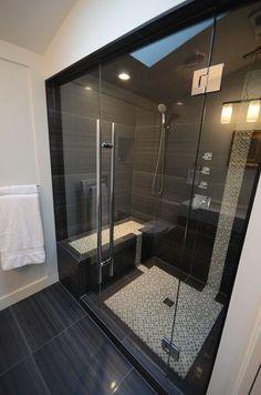 Black Tile Bathroom: 41 Cool And Eye-Catchy Bathroom Shower Tile Ideas New Bathroom Ideas, Bathroom Inspiration, Modern Bathroom, Small Bathroom, Master Bathroom, Basement Bathroom, Parisian Bathroom, Bathroom Wall, Bathroom Renos