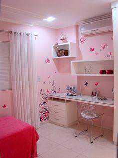 Study Room Design, Girls Room Design, Study Room Decor, Kids Bedroom Designs, Room Design Bedroom, Small Room Bedroom, Home Room Design, Girls Room Paint, Bedroom Decor For Teen Girls