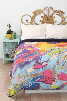Marble duvet cover from Magical Thinking. - This bed looks magical!