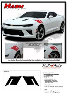 2016 2017 2018 Chevy Camaro HASHMARK Factory OEM Style Professional Vinyl Rally and Racing Stripes Graphics Decals Kit - Pre-Cut and Designed, Ready to Install! For Automotive Restylers and Dealers . Camaro 2ss, Decals, Sticker Vinyl, Racing Stripes, Dodge Charger, Le Mans, Custom Cars, Oem, Garage Tools