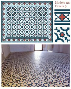 Modelo 127 y Cenefa 9 #casa #home #azulejos #tiles #blue #azul #rojo #red #spain #spanish