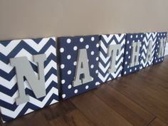 Wall Canvas Letters, Nursery Decor, Nursery Letters, Wooden Letters, Personalized, Nursery Art, Navy Blue, Grey and White Chevron by NurseryShoppe on Etsy https://www.etsy.com/listing/181283743/wall-canvas-letters-nursery-decor