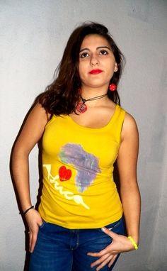 Camiseta Mujer Pintada Mano Tirantes I Love Africa de HandpaintedArcsArt por DaWanda.com
