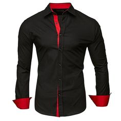 Cheap Mens Shirts, Mens Shirts Online, Casual Shirts For Men, Men Shirts, Long Sleeve Fitted Dress, Long Sleeve Shirts, Korean Shirts, Chemise Slim Fit, Gilet Costume