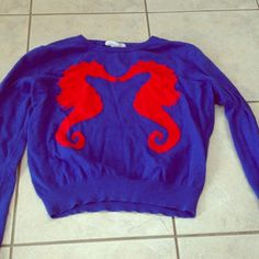Seahorse Crop Sweater Size M, but runs small. Super soft. Gently worn, like new. Forever 21 Sweaters Crew & Scoop Necks
