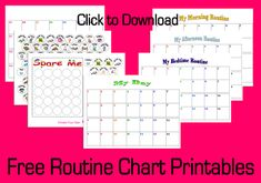 Free Routine Chart #Printables--Click to Download