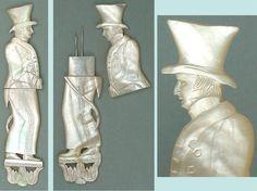 Rare 'Gentleman' Antique Mother Of Pearl Palais Royal Needle Case * Circa 1820