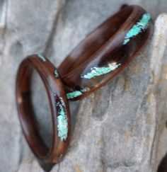 ebony bent wood ring with rustic turquoise by perkinswoodwork