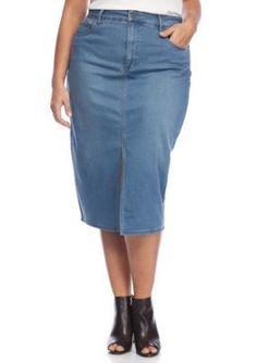 RACHEL Rachel Roy Ciel Wash Plus Size Midi Jean Skirt
