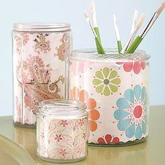 Easy Projects with Craft Scraps  ...  Paper-Lined Jars        The difference is in the details. Cover the insides of plastic or glass jars and containers with patterned paper. Cut to size, place inside, and secure with tape. Cover a grouping of jars and display together.