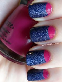 Glittery Indigo and Pink Half Moon Mani