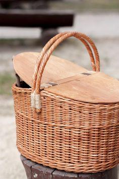 Handmade Wicker Picnic Basket, Picnic Wicker Basket, wicker basket Village, Rustic  Wicker Basket