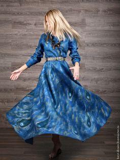 """Платья ручной работы. Ярмарка Мастеров - ручная работа. Купить Платье """"Для Елены"""". Handmade. Синий, волокна шелка"""