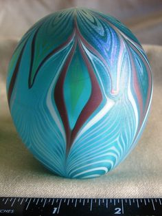 Paperweight Vandermark Art Glass Pulled Feather Aqua Purple 1978 Signed #Vandermark