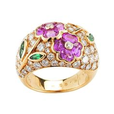 Van Cleef and Arpels Ring. 18K Yellow Gold, Ruby, Emerald and Diamond, France, 20th century