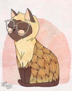 Hip Cat - Illustration Print sur Etsy, 7,74 €