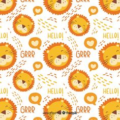 Colorful doodle lions and words pattern Free Vector Doodle Background, Pastel Background, Background Patterns, Vector Background, Word Patterns, Cute Pattern, Pattern Design, Star Doodle, Leaves Doodle