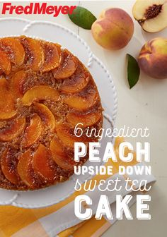 Peach Upside Down Sweet Tea Cake Fruit-forward desserts are a hallmark of the summer season. This Peach Upside Down Sweet Tea Cake is made with only 6 ingredients so the fresh, juicy peaches can truly take centerstage, and you can enjoy easy prep. Tea Cakes, Food Cakes, Bundt Cakes, Peach Upside Down Cake, Cake Recipes, Dessert Recipes, Recipes Dinner, Dinner Ideas, Breakfast Recipes