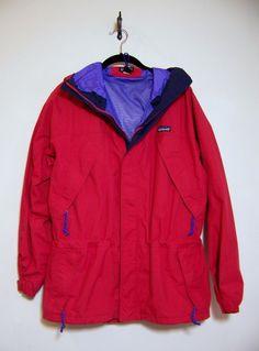 Mens Red PATAGONIA STORM Jacket Rain Coat Sz M Hooded Parka #Patagonia #StormJacket