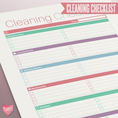 Modern Cleaning Checklist - Instant Download! PDF format ready to print at home!