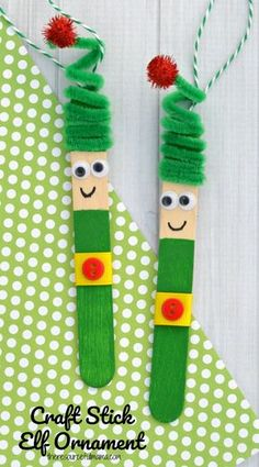 Kids will love creating this fun craft stick elf ornament from a craft stick and pipe cleaner to hang on the Christmas tree. #kidscrafts #kidcraft #elf #christmas