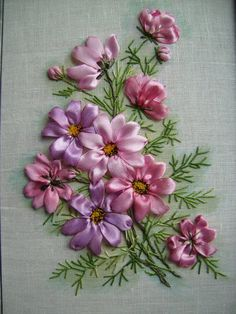 Wonderful Ribbon Embroidery Flowers by Hand Ideas. Enchanting Ribbon Embroidery Flowers by Hand Ideas. Embroidery Designs, Ribbon Embroidery Tutorial, Silk Ribbon Embroidery, Embroidery Supplies, Embroidery Services, Embroidery Transfers, Embroidered Silk, Ribbon Art, Ribbon Crafts