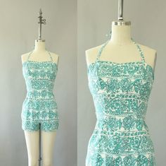 Vintage 50s Swimsuit/ 1950s Swimsuit/ Rose by WhenDecadesCollide