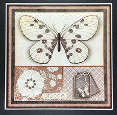 Cardtopper Butterly Themed creme brown 778 on Craftsuprint designed by Gertraud Lueckel - made by Hazel Pepper - I printed the sheets from this kit onto photo paper and cut the elements out. I mounted the base image onto a black mat, then onto an 8x8 inches card blank and stuck the insert inside. I then added the layers with 1mm foam pads, except the butterfly, which I stuck the body down with flat tape and the wings with 2mm foam pads. - Now available for download!