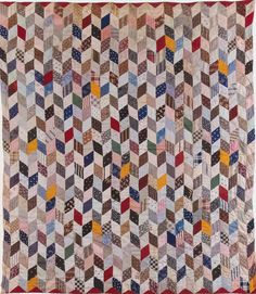 Hit or Miss Variation, 1890. Made by Marion Candace Skinner Brown. New Salem. Massachusetts Quilts, Our Common Wealth.