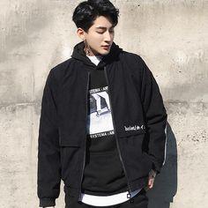 HOIST Bomber Jacket Look Fashion, Korean Fashion, Mens Fashion, Fashion Design, Hot Asian Men, Asian Boys, Pretty Boys, Cute Boys, Ulzzang