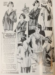 Middy blouses shown in a 1922 Sears Catalog via Raleigh Vintage.