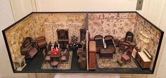 Antike Puppenstube aus Sammlung Gottschalk ? um 19. Jh Wohnzimmer Mobiliar Tanne | eBay