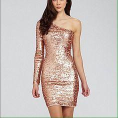 289b34a9a51 BCBG maxazria rose gold sequin dress metallic One shouldered rose gold  sequin dress
