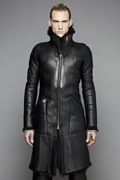 InAisce | Leather Shearling Zip-Up Coat