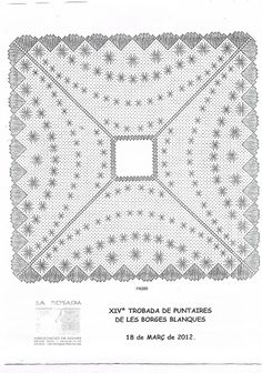 """ENCAJERAS DE BOLILLOS """"Ibn al Baytar"""" Bobbin Lace Patterns, Embroidery Patterns, Hand Embroidery, Bobbin Lacemaking, Needle Lace, Lace Making, Hello Kitty, Arts And Crafts, Quilts"""