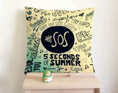 5 Seconds Of Summer Pillow cover in cream cotton applique - Decorative cushion cover- Spring Throw pillow 18x18 22x22