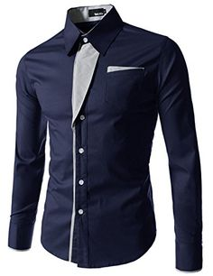 (N320) TheLees Mens Casual Long Sleeve Stripe Patched Fit...
