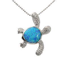 Hawaiian Jewelry Opal H-right(L) Turtle Pendant