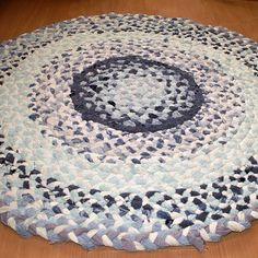 kobereček - hadrák - spletený - modrý kulatý