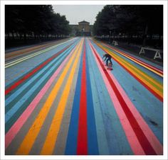 Street Painting – Franklin's Footpath / Photographer: Henry Groskinsky, 1972    Artist Gene Davis