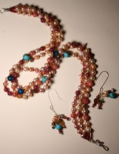 Pearl and Gem Stone Necklace and Earring Set PRICE by QuietMind, $390.00