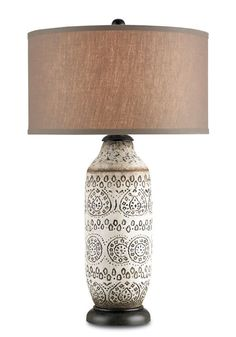 Currey and Company 6350 Intarsia 1 Light Table Lamp with Terracotta Base Antique Brown Lamps Table Lamps