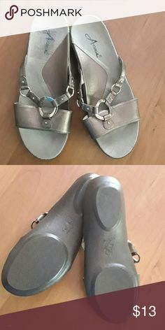 A pair of Annie women's sandals size 8 These are size 8 pair of sandals which were only worn once maybe twice in the house on carpeting, my feet were too wide for them. They are a bronze copper in color Annie sz. 8 Accessories