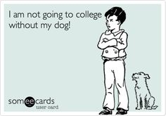 Funny College Ecard: I am not going to college without my dog!