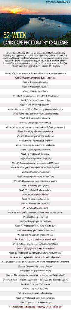 52-Week Landscape Photography Challenge - get ideas and inspiration that will help you to improve your photography through a one-year project.