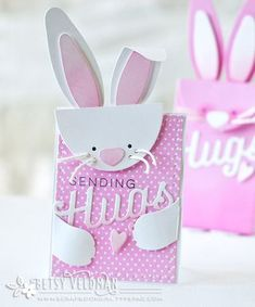 Bunny Bag Revisited: Bunny Sending Hugs Card by Betsy Veldman for Papertrey Ink (April 2016)