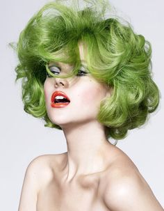 makeup by Stephen Dimmick   www.aimartist.com/stephendimmick  red lips / green wig / #60's #50's #makeup